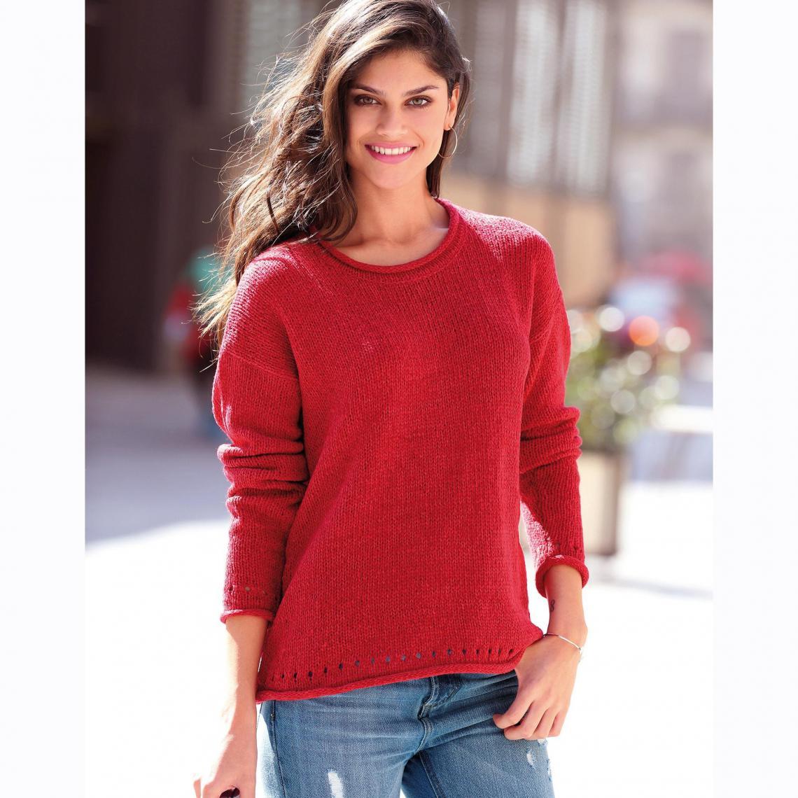 ab56dbab6dd6a Pull manches longues maille chenille femme Exclusivité 3SUISSES - Rouge 3  Suisses Femme