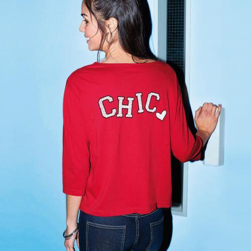 3c2a77a9f803a 3 SUISSES - Tee-shirt manches 3/4 imprimé dos femme - Rouge -