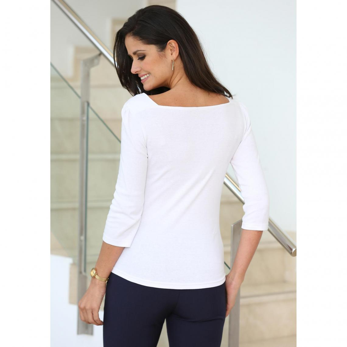 Tee-shirt col carré manches 3\/4 boutons femme - Blanc DuShX