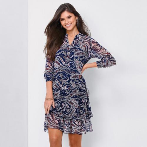 0879a9f79b019e Robe courte imprimée volants manches longues femme - imprimé bleu encre