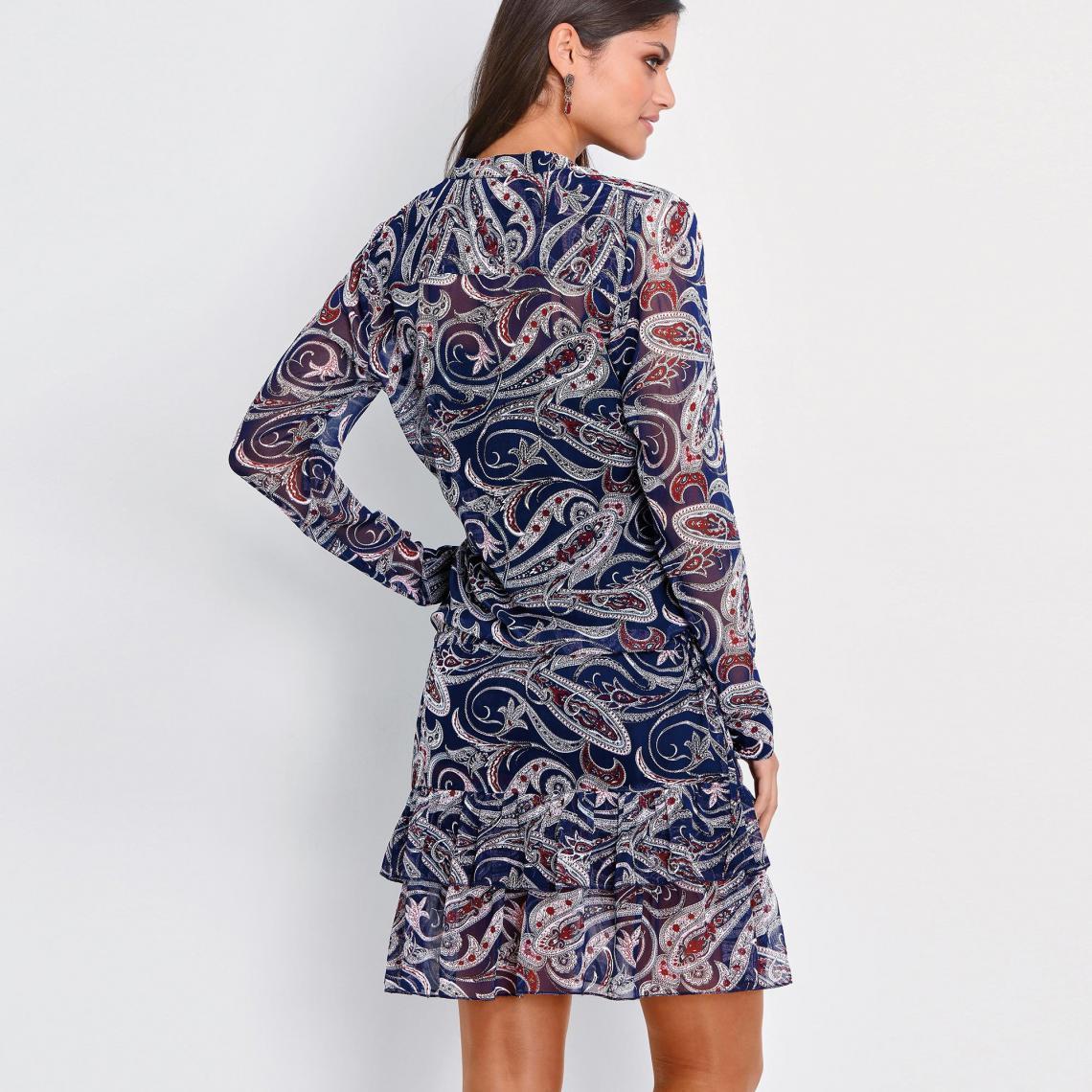 c93064a4e74 Robe courte imprimée volants manches longues femme - imprimé bleu ...