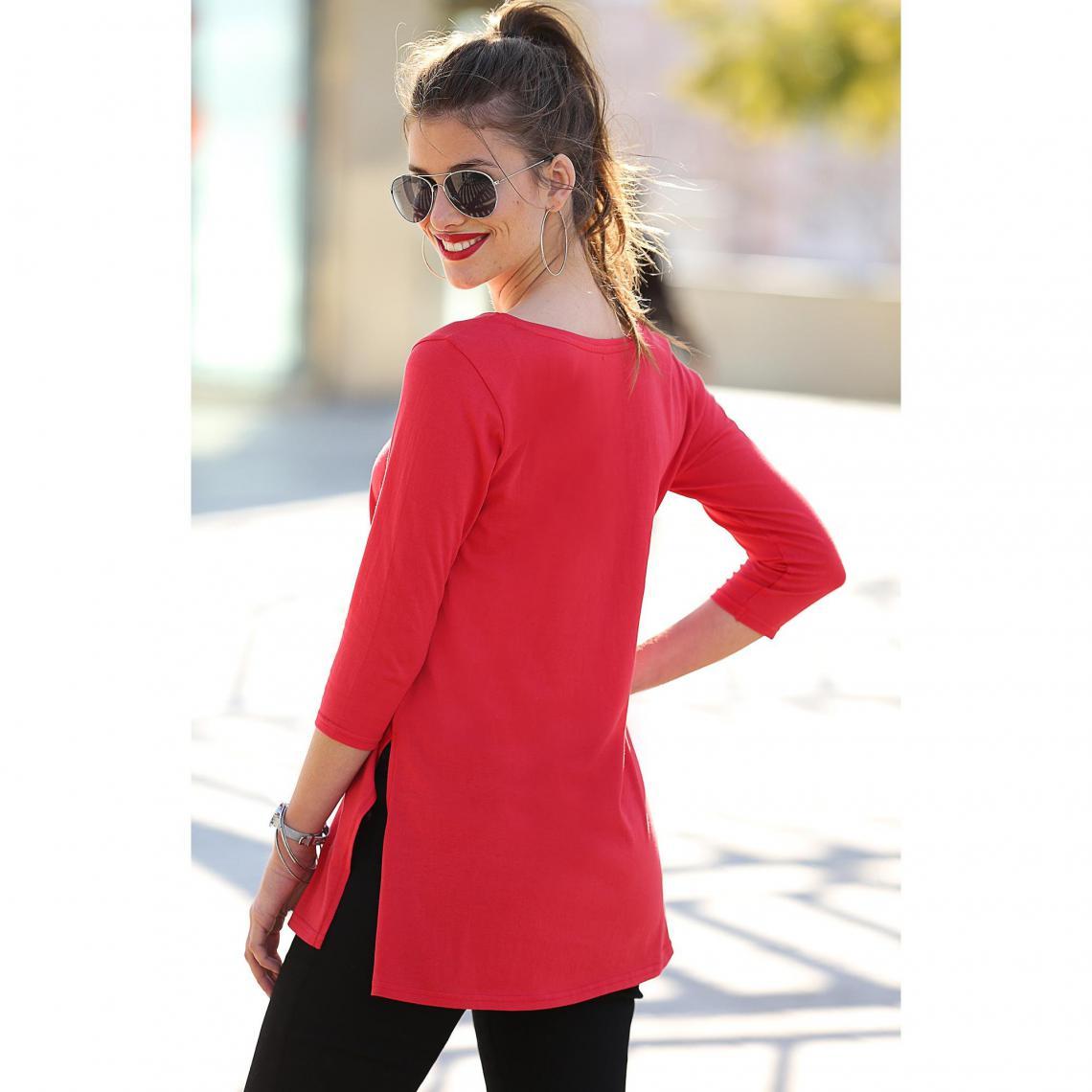 c17a4d9ee7edd Tee-shirt uni fendu manches 3/4 femme - Rouge | 3 SUISSES