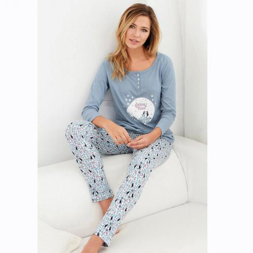 076bdcdf7cba9 3 SUISSES - Pyjama manches longues pantalon imprimé femme - Imprimé Bleu  Ciel - Lingerie de