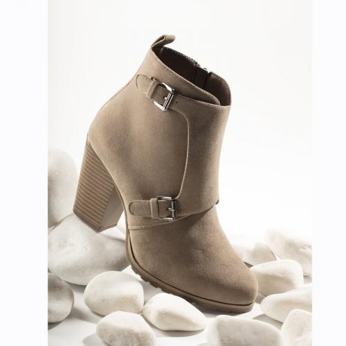 5738ffd3700819 3 SUISSES - Bottines doublées zip et boucles métalliques femme - Sable -  Bottes / Bottines