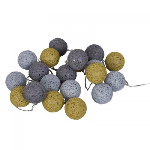 3S. x Collection - Guirlande lumineuse 20 boules - Gris - Décoration lumineuse