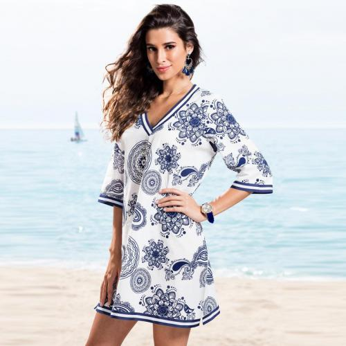 5c618140ec4c 3 SUISSES - Robe tunique imprimée femme - Imprimé Bleu - Robes de plage