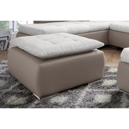 Pouf repose-pieds rectangulaire tissu et synthétique Collection AB - Beige