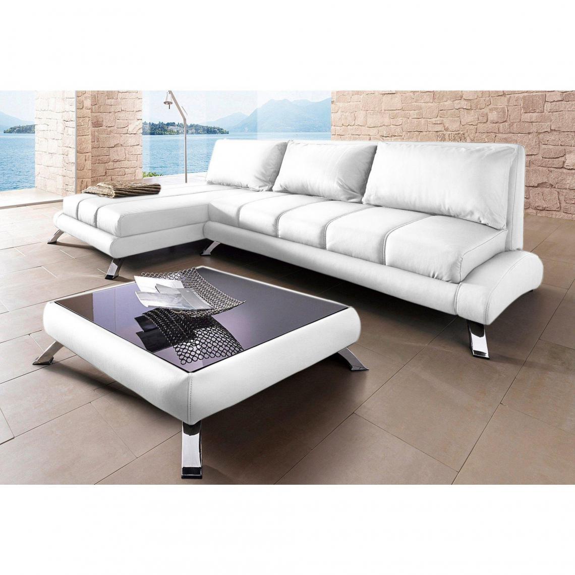 table basse carr e rev tement synth tique et pieds m tal. Black Bedroom Furniture Sets. Home Design Ideas
