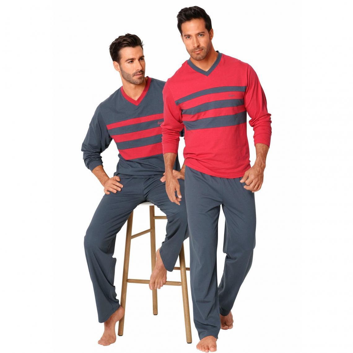 Lot de 2 pyjama longs homme Le Jogger - rouge + gris - 3Suisses
