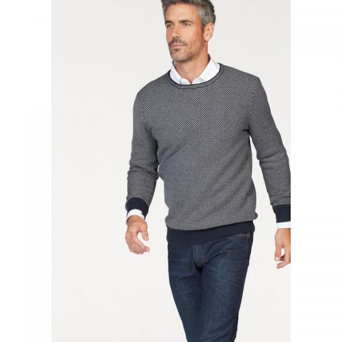 3 SUISSES - Pull imprimé col rond manches longues homme Class International - Marine - Gris - Pull / Gilet / Sweatshirt
