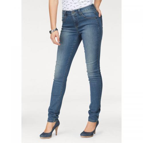 1d738909f0f53 3 SUISSES - Jean slim-fit taille haute femme Arizona - Bleu Used -  Promotions