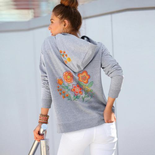 3 Suisses - Sweat à capuche avec imprimé et poche femme Exclusivité  3SUISSES - gris chiné c7bb9f7f91c9