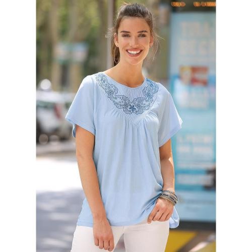 3 SUISSES - Tee-shirt manches courtes broderie suisse femme - Bleu - T-shirt manches courtes