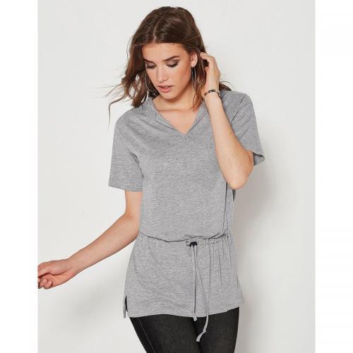 3 SUISSES - Tee-shirt à capuche manches courtes femme Exclusivité 3SUISSES  - gris chiné 897c0d9ac2e