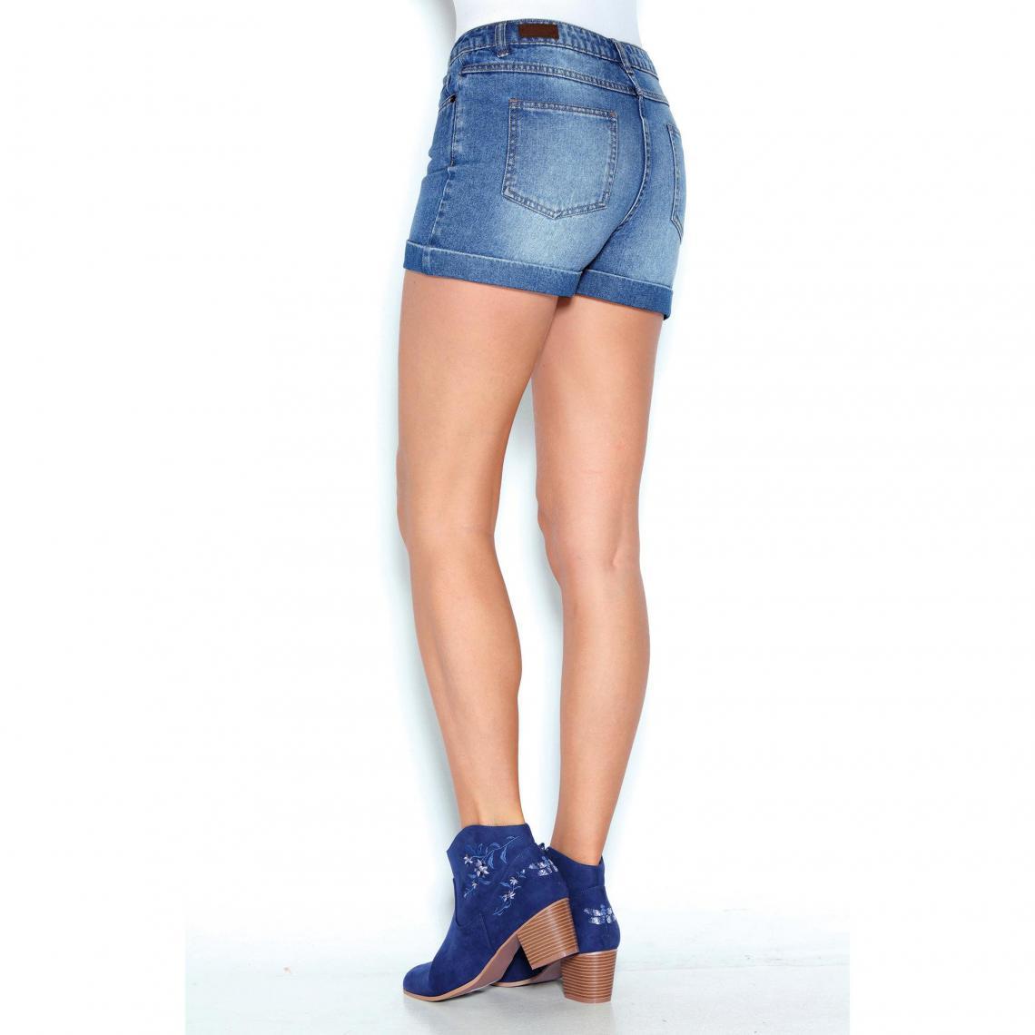 Short en jean coupe 5 poches bas à revers femme Bleu 3 Avis Plus de détails