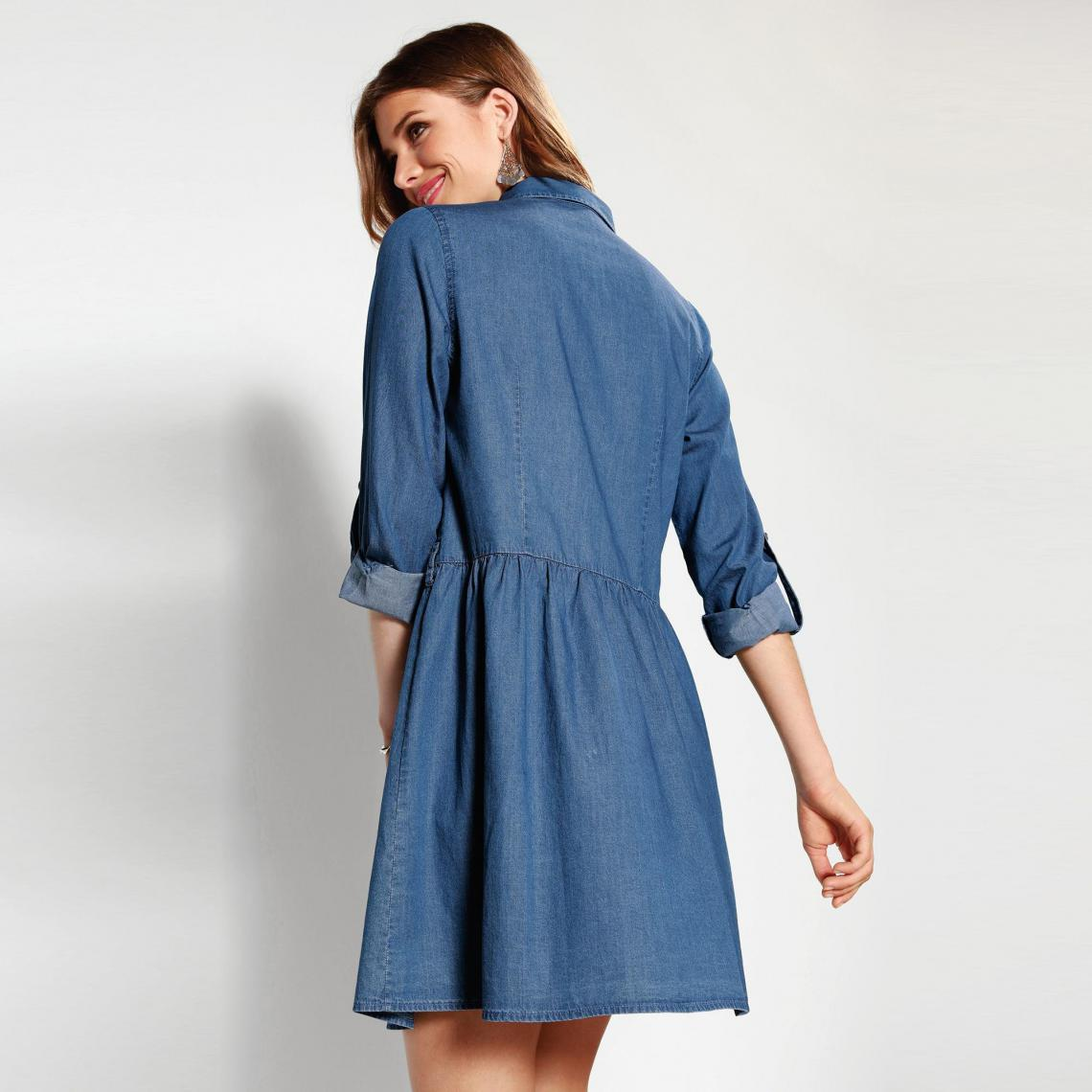 a6abe76f47c Robe courte 3 SUISSES Cliquez l image pour l agrandir. Robe en jean manches  longues et fronces femme - Bleu 3 SUISSES
