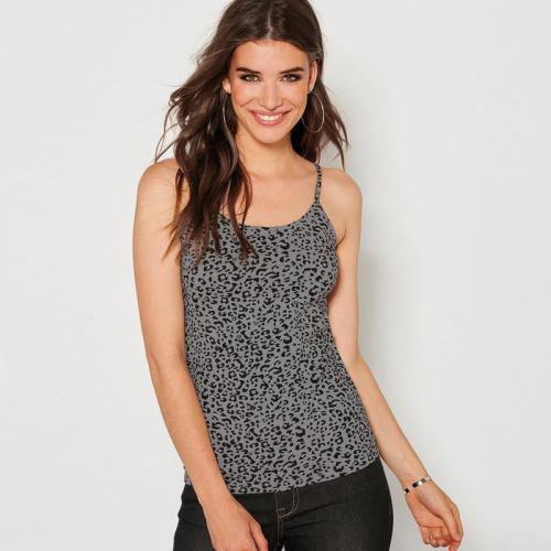 84033df9483a 3 SUISSES - Tee-shirt imprimé à bretelles femme - Imprimé Noir - Tops