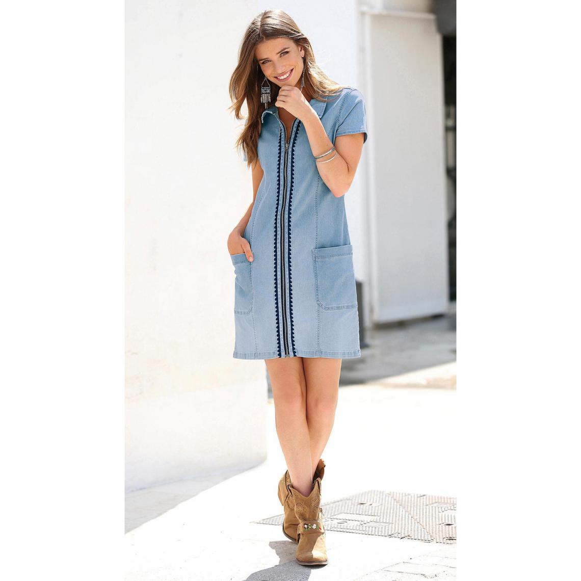 d0638f9a130 Robe chemise zippée manches courtes broderie femme - Bleu Ciel 3 SUISSES  Femme