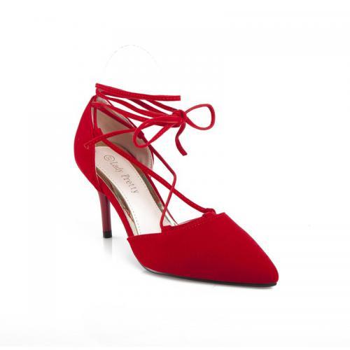 478d14fd60a 3 SUISSES - Escarpins talon haut noués sur chevilles femme - Rouge - Escarpins  femme