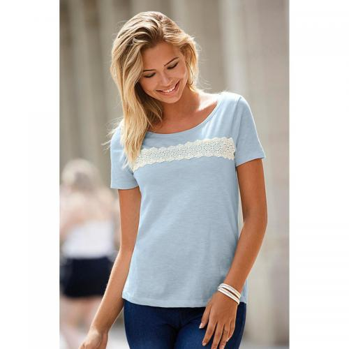 a92fc70bea332 3 Suisses - Tee-shirt avec guipure manches courtes femme Exclusivité  3SUISSES - Bleu -