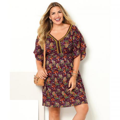 810f239c8a8 3 SUISSES - Robe imprimée manches courtes passementerie femme - imprimé  prune - Robe courte