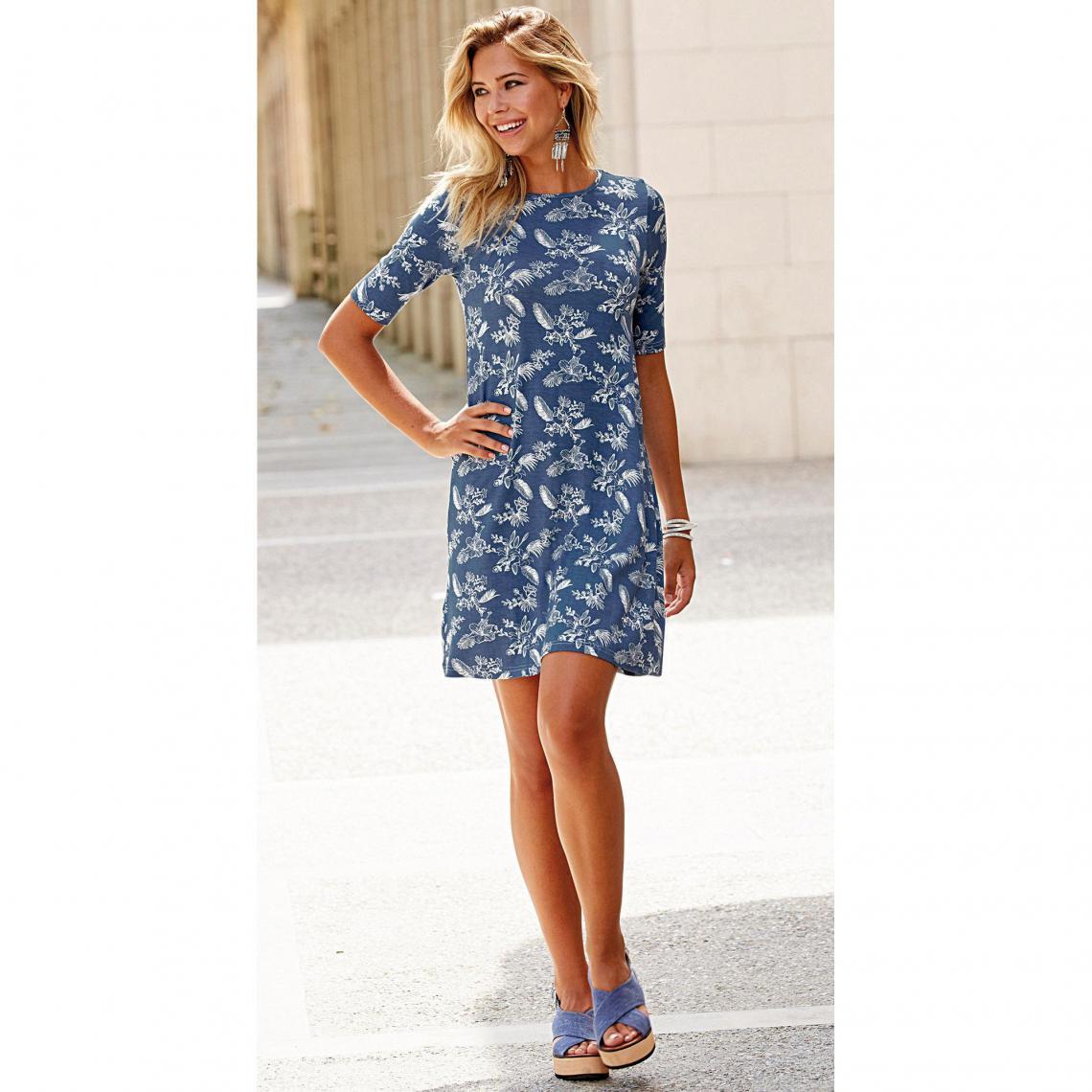 Robe évasée imprimée manches aux coudes femme Exclusivité 3SUISSES - Imprimé  Bleu 3 Suisses Femme ea2da6b91902