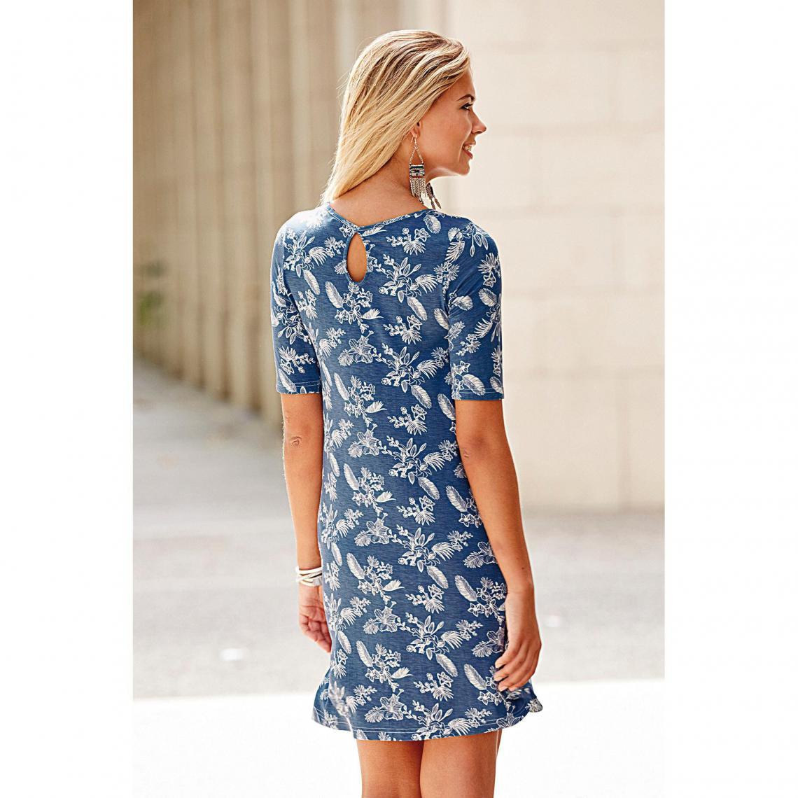Robes courtes femme 3 Suisses Cliquez l image pour l agrandir. Robe évasée  imprimée manches aux coudes femme Exclusivité 3SUISSES - Imprimé Bleu ... ef153a45df67