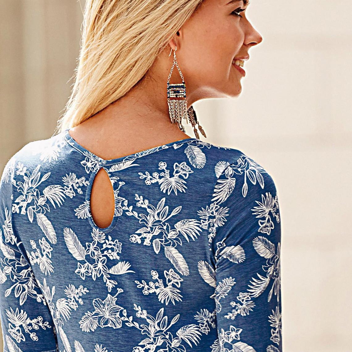 Robe évasée imprimée manches aux coudes femme Exclusivité 3SUISSES - Imprimé  Bleu 3 Suisses c47ca83db522