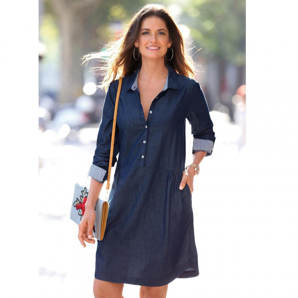 offres exclusives réputation fiable le dernier Robe en jean manches longues col chemise femme - bleu foncé ...