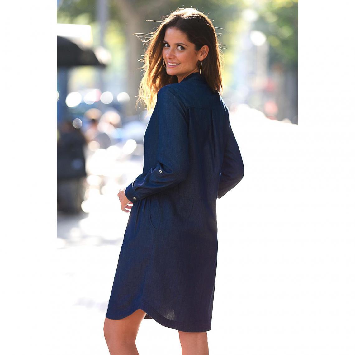 df5271aa005 Robe courte 3 SUISSES Cliquez l image pour l agrandir. Robe en jean manches  longues col chemise femme - bleu foncé ...