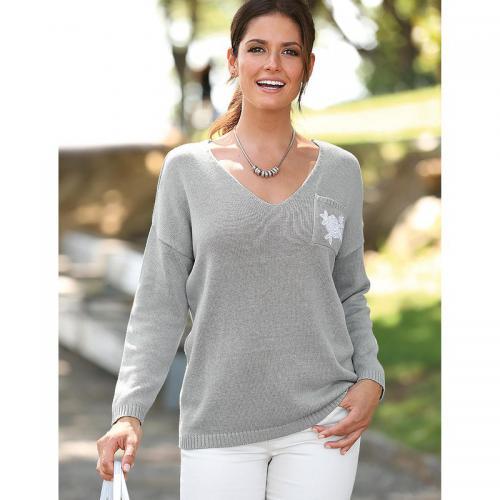 2775949d3382d 3 Suisses - Pull col en V manches longues poche plaquée femme Exclusivité  3SUISSES - gris