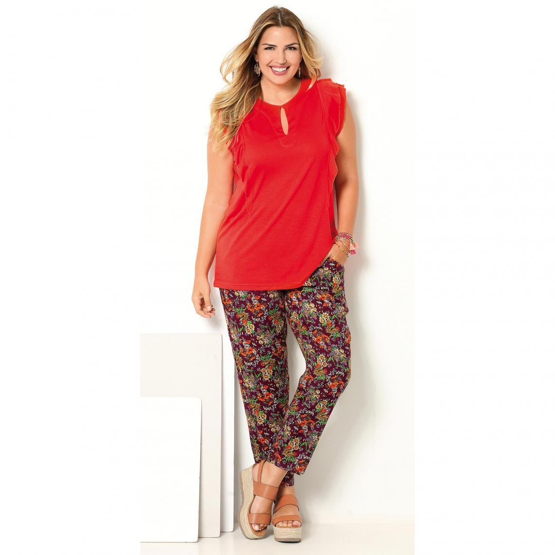 Pantalon imprimé taille élastique et poches - Violet - 3 SUISSES - Modalova