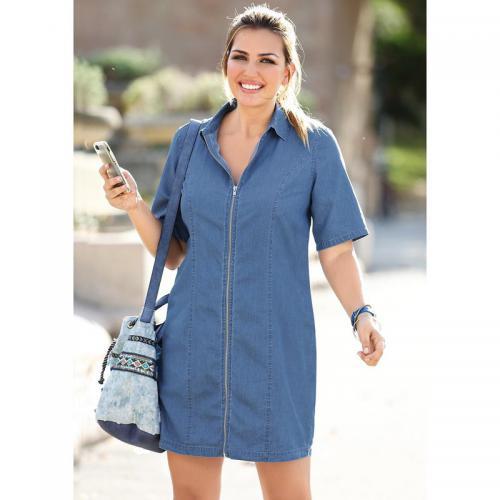 296be0a5fa82 3 SUISSES - Robe courte en jean zippée manches courtes femme - Bleu - Mode  Grande