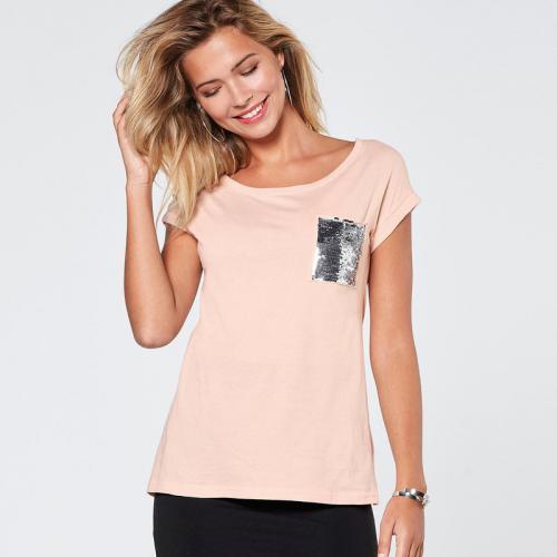 3 SUISSES - Tee-shirt manches courtes sequins sur poche femme Exclusivité  3SUISSES - Rose 7351e38d25c