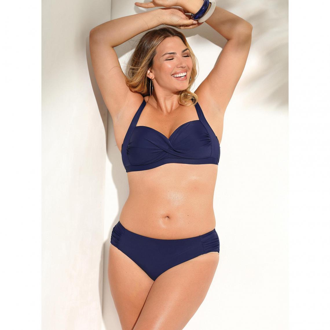 823ecc25b8e51 Bikini uni bandeau et culotte taille haute femme Exclusivité 3SUISSES -  Bleu Encre 3 SUISSES Femme