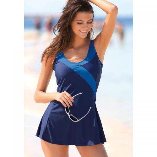 3 SUISSES - Maillot de bain robe uni effet ventre plat femme Exclusivité  3SUISSES - Bleu 961f4b06c22