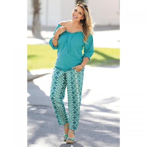 7d6038e6a1157 3 Suisses - Pantalon imprimé taille élastique et poches femme Exclusivité  3SUISSES - Imprimé Vert -