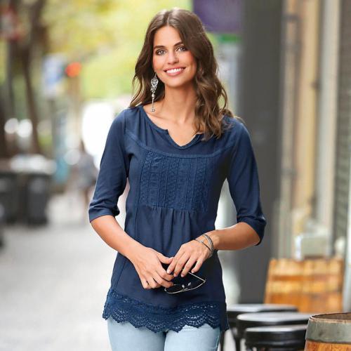 795c510304ad 3 SUISSES - Tee-shirt manches courtes guipure femme - Bleu - T-shirts