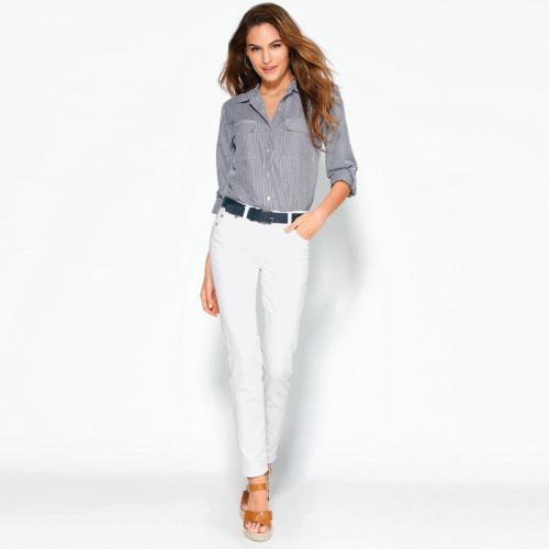 3 SUISSES - Pantalon élastique coupe 5 poches femme Exclusivité 3SUISSES -  Blanc - Pantalons femme 0f98f1261e7