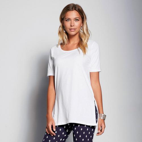 3 Suisses - Tee-shirt long fendu manches courtes femme Exclusivité 3SUISSES  - Blanc - 04d50f917bbc