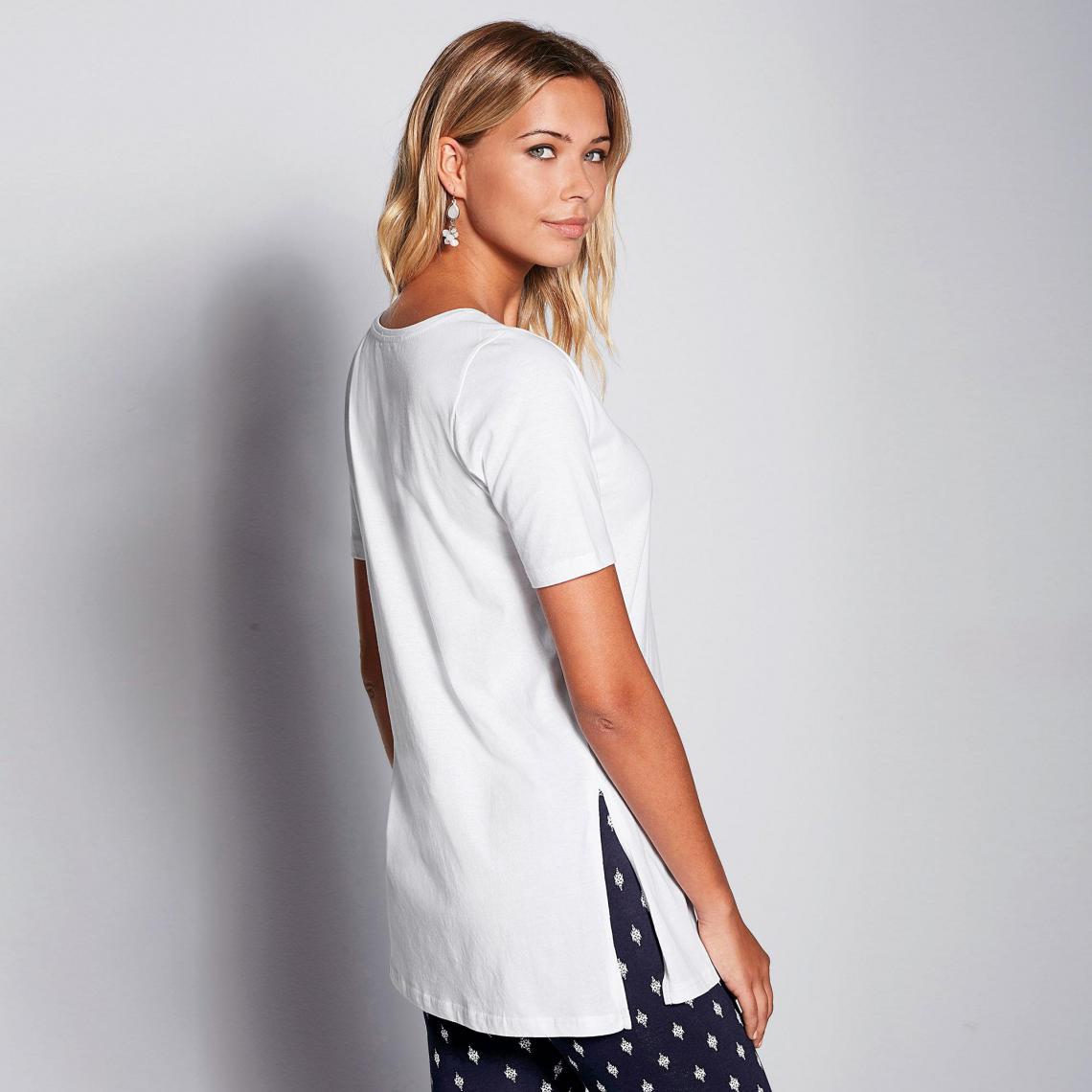 b22da8938f7 Tee-shirt long fendu manches courtes femme - Blanc