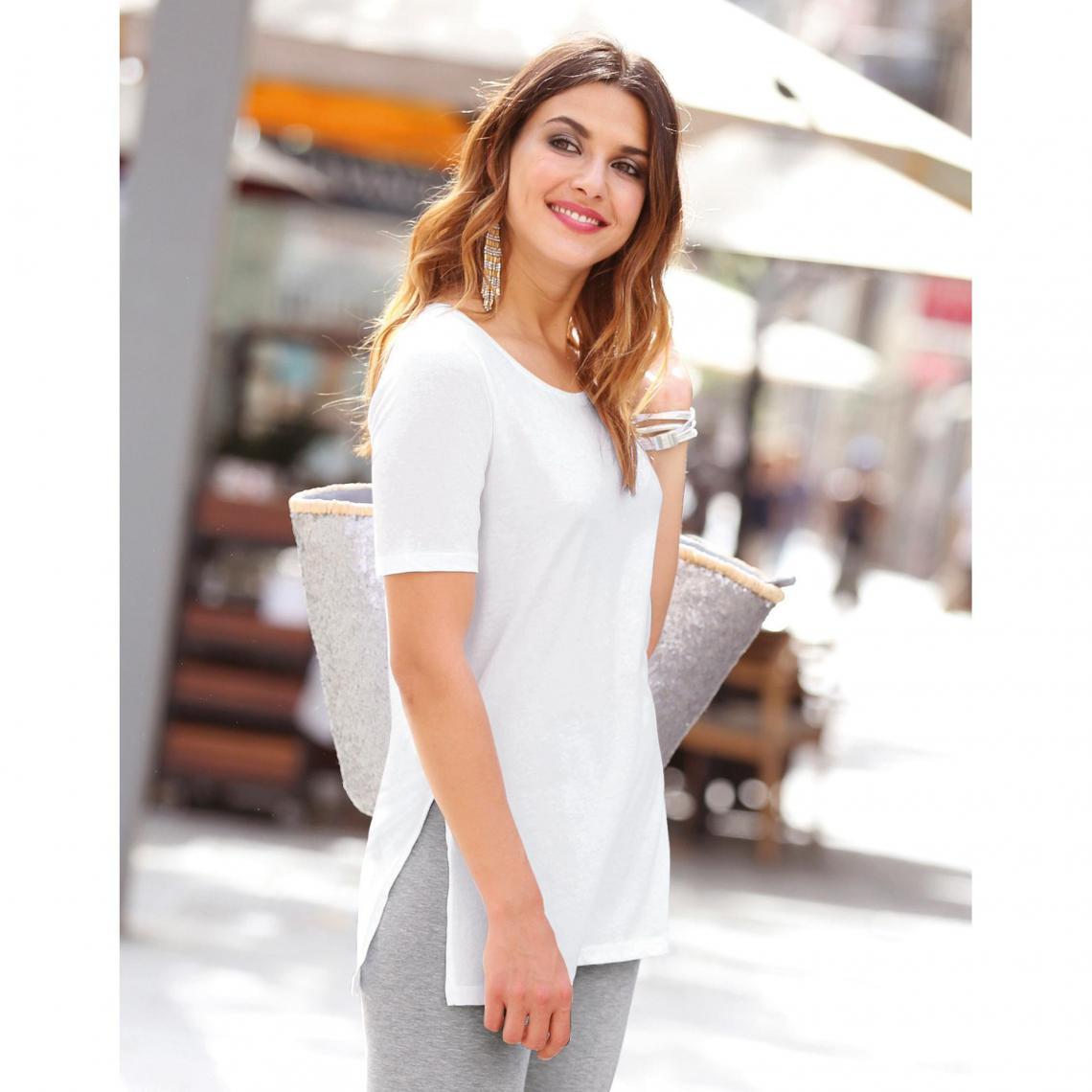 Tee-shirt long fendu manches courtes femme Exclusivité 3SUISSES - Blanc 3  SUISSES 9105eb0bf4f