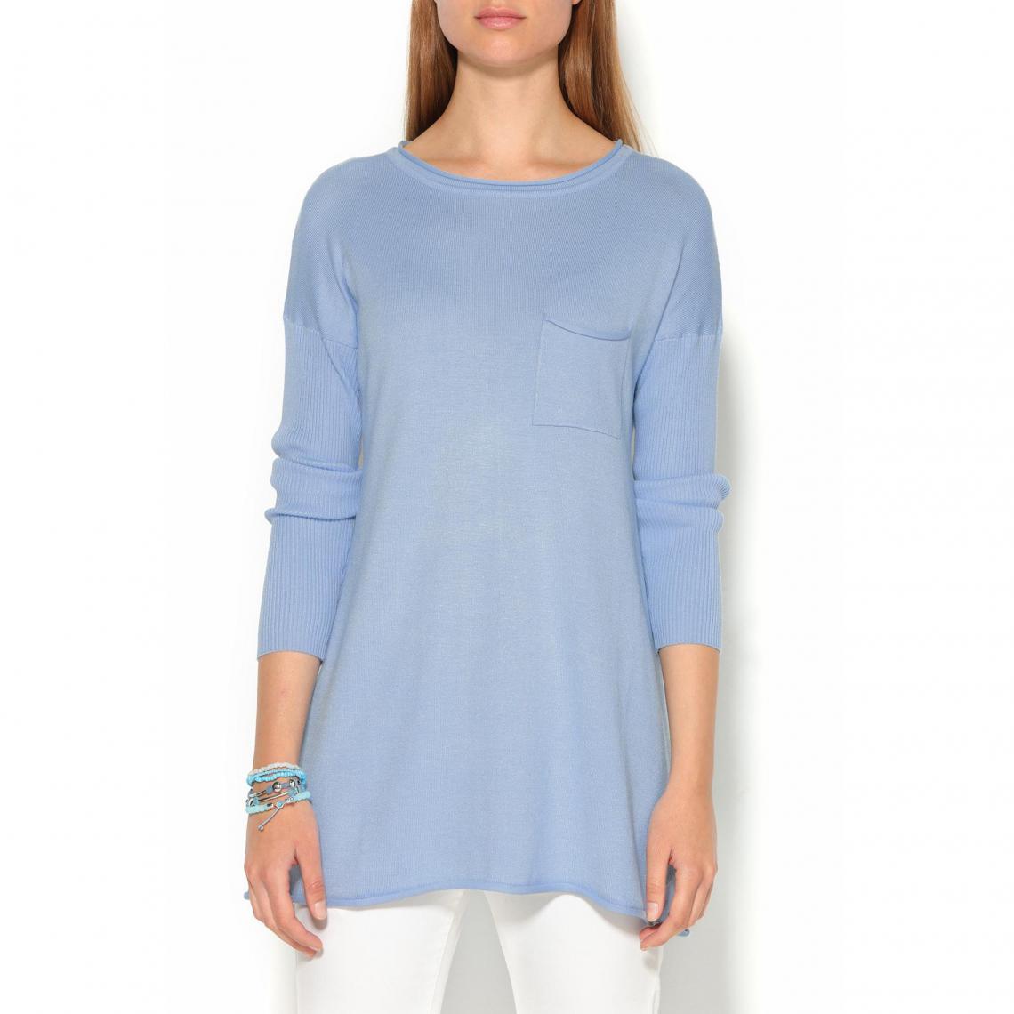 Pull manches longues en côtes femme - Bleu
