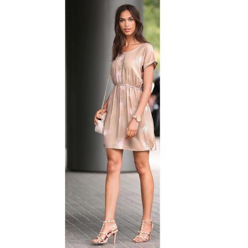 cace0474711 3 SUISSES - Robe courte imprimée manches courtes femme - Beige - Robe courte