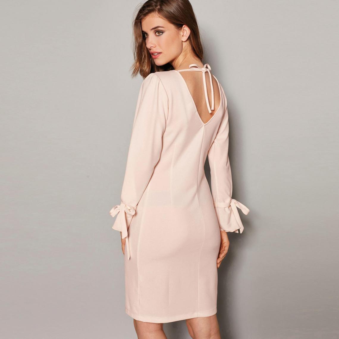 Manches Nouer Longues V À Dos Suisses En Rose3 Robe Femme OymnwN80v