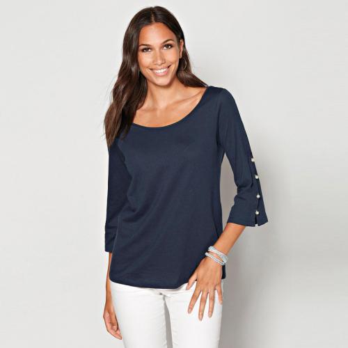 d3833d665c9ba 3 Suisses - Tee-shirt manches 3 4 avec perles col V dos femme