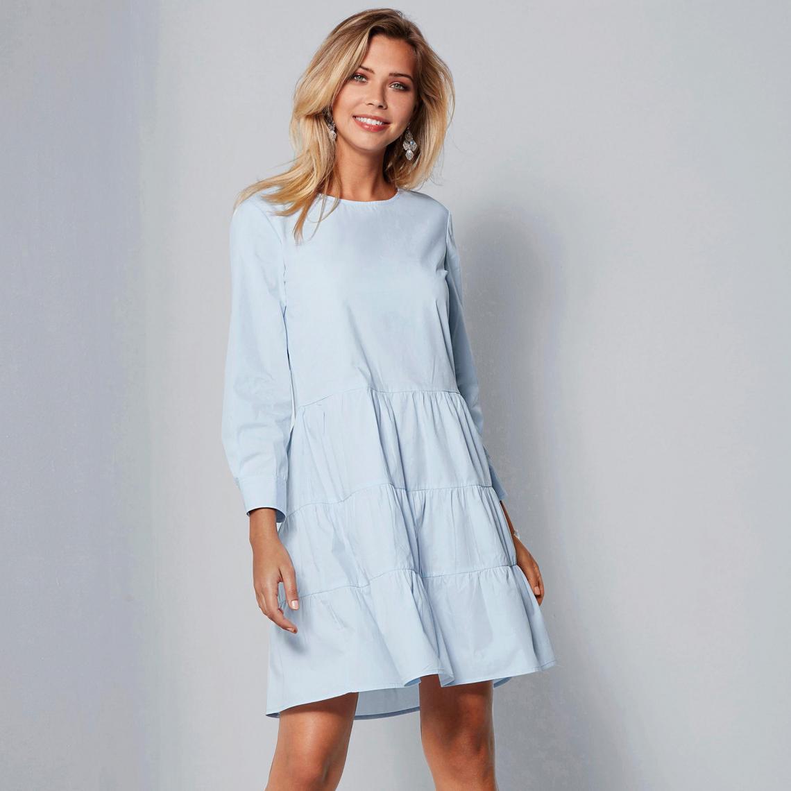 82990b62fd4 Robe manches longues bas effet froncé femme - Bleu 3 SUISSES Femme