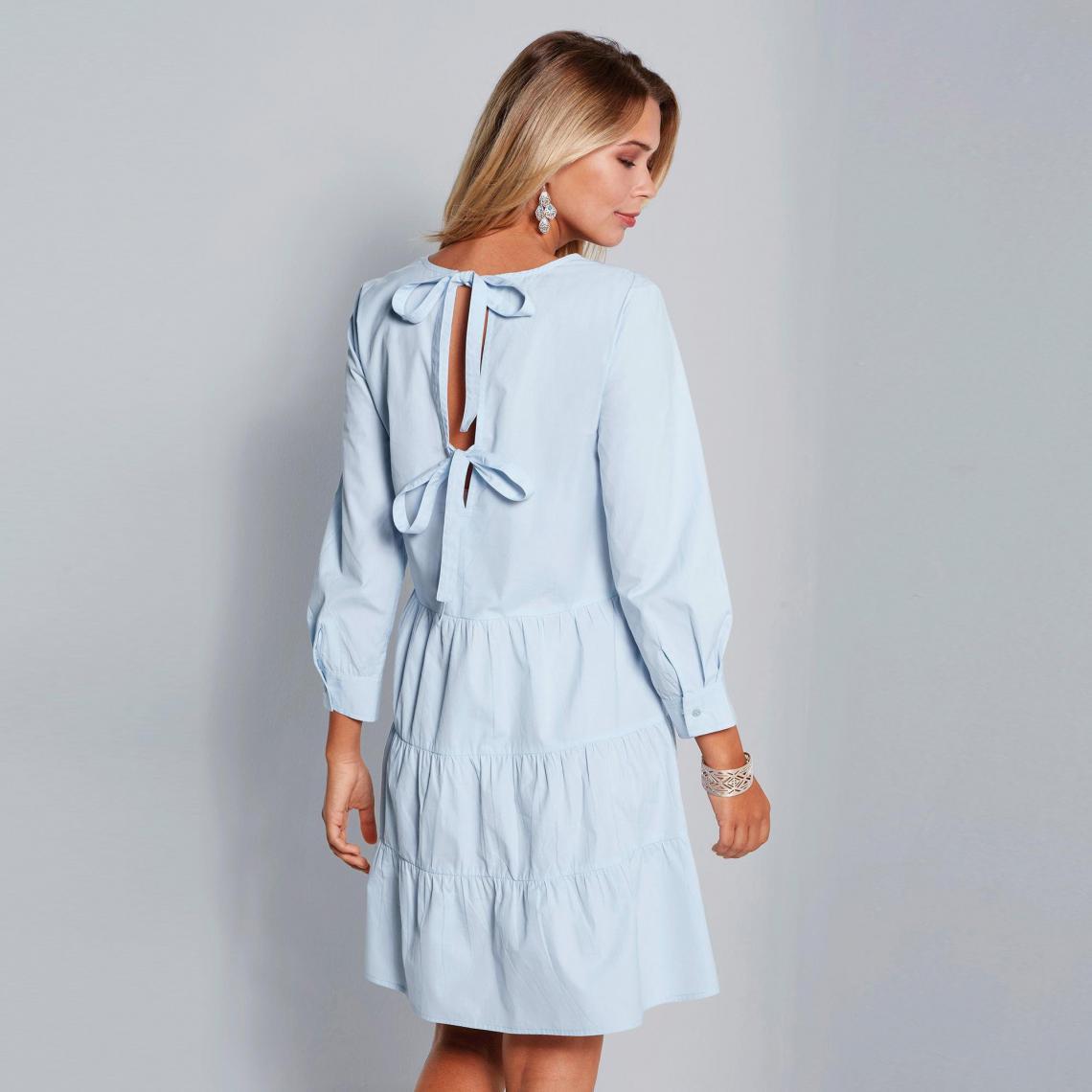 d63e2558543 Robe manches longues bas effet froncé femme - Bleu