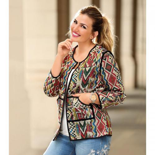 84fa2e32d60de 3 Suisses - Veste imprimée biais contrastés poches femme Exclusivité  3SUISSES - Imprimé Écru - Vestes