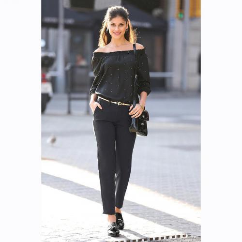 aca9949bdbc 3 SUISSES - Pantalon uni poches et pinces femme - Noir - Pantalons larges  femme